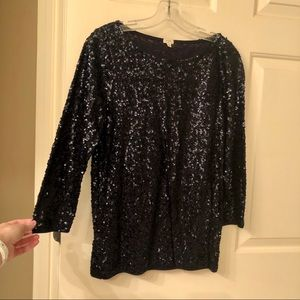 J. Crew Navy Sequin Top